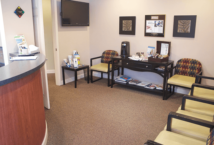 Patient waiting area and beverage center