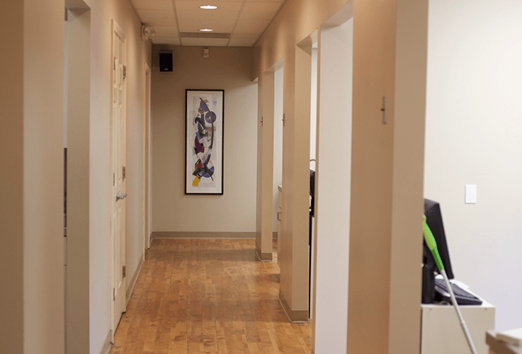 Hallway leading to patient treatment rooms